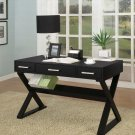 Black White Wood Computer Office Writing Desk w Drawers