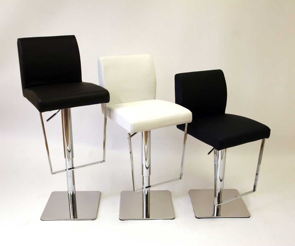 Contemporary Leather Swivel Bar Stools Stainless Steel