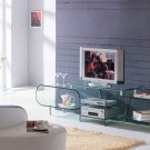 Clear Glass Television TV Stand Entertainment Center