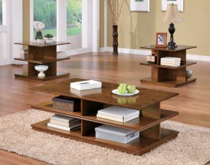Modern Brown Coffee Table & Side End Tables 3 Piece Set