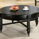 Modern Black Round Coffee Table with Casters & Drawers