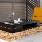 Modern Solid Oak Veneer Tempered Glass Top Coffee Table