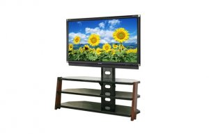 Modern Antiqued Cherry Wood TV Stand Integrated Mount