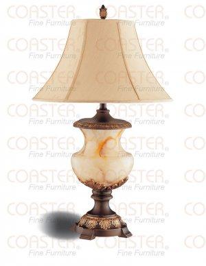 Modern Dark Brown Finish Table Lamp w/ Tan Fabric Shade