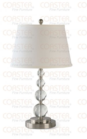 Crystal Ball Accents Table Lamp with White Fabric Shade