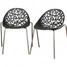 Modern Plastic Floral Filigree Dining Room Chairs Set