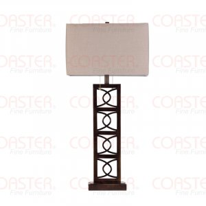 Modern Brown Squares Table Lamp with Beige Fabric Shade