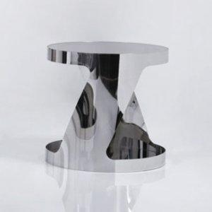 Modern Black Glass Top Chromed Metal Base End Table 931