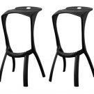 Modern Black Molded Plastic Bar Stools Backless Durable