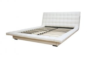 Modern Faux Leather Queen Platform Bed Solid Wood New