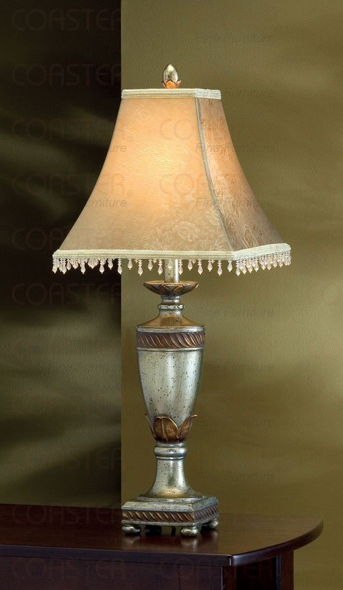 Antique Gold Finish Table Lamp Beaded Fabric Bell Shade
