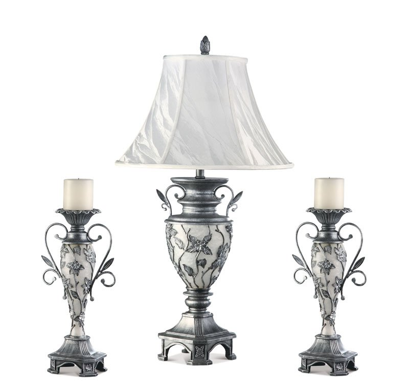 Floral Flower Table Lamp Candle Holder Set Wedding Gift