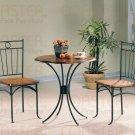Modern Round Bistro Dining Table 3 Piece Set Wood Metal