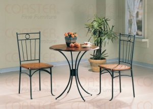Modern Round Bistro Dining Table 3 Piece Set Wood Metal