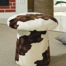 Modern Unique Mushroom Round Swivel Ottoman in Brown, Cow Print or Cream