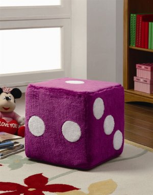 Fun Fuzzy Furry Pink or Black Square Dice Ottoman Kids Teens