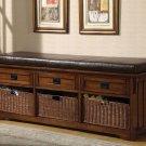 Modern Hall Storage Bench Chair w/ Baskets Mudroom