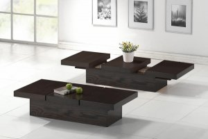 Modern Hidden Storage Dark Wood Wenge Coffee Table Low Profile Contemporary