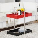 Modern Black Red Gloss Tray Accent Side Coffee End Bedside Table Bar Cart