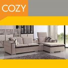 Ultra Modern Sectional Sofa Beige and Chocolate Fabric