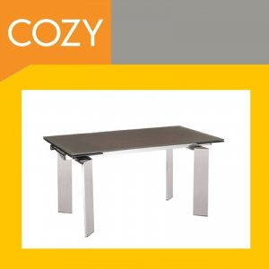 Modern Contemporary Expandable Dining Room Table Glass Top With Chrome Finish
