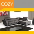 Luxurious Modern Dark Gray Leather Italian Sectional