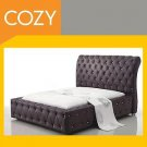 Sleek Modern and Contemporary leather Sleigh Bed in Black or White
