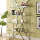 MODERN CHROME FINISH BOOKCASE IN X SHAPE GLASS AND FLOATING STYLE GLASS BY COZY™