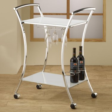 Modern Contemporary Glass Metal Black White Wine Rack Trolley Cart By COZY�