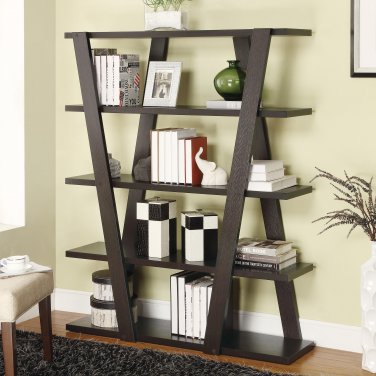 Modern Contemporary Inverted Support Bookcase Bookshelf Cappuccino By COZY�