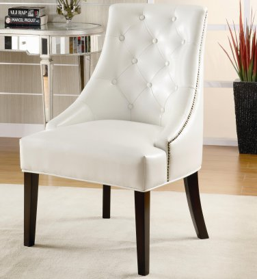 ACCENT UPHOLSTERED CHAIR IN WHITE, BEIGE, AND BLACK TUFTED BUTTON BY COZY�