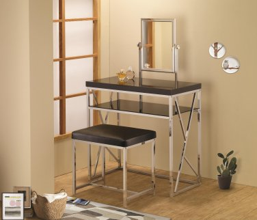 MODERN CHROME VANITIES BLACK OR WHITE TOP WITH MATCHING STOOL BY COZY�