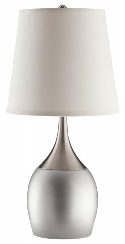MODERN TABLE LAMP WITH COLOR BASE IN SILVER OR EXPRESSO BOTTOM BY COZY�