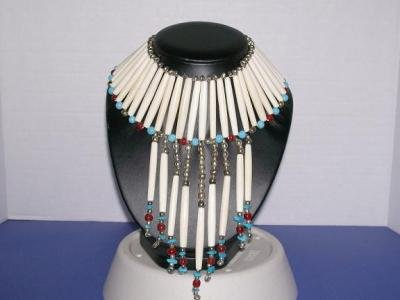 Breast Plate W/ Turquoise & Ruby Beads - TBM-BBP-002