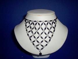 Black Glass Bouquet Necklace / Choker - TBM-BBN-006