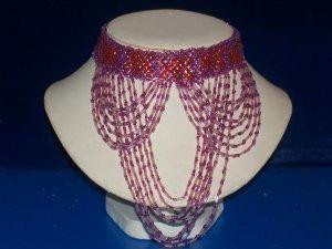 Choker Red & Purple Seed Beads -TBM-BBN-001