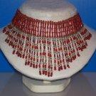 Necklace / Choker Fire Red Bugle Beads - TBM-BBN-008