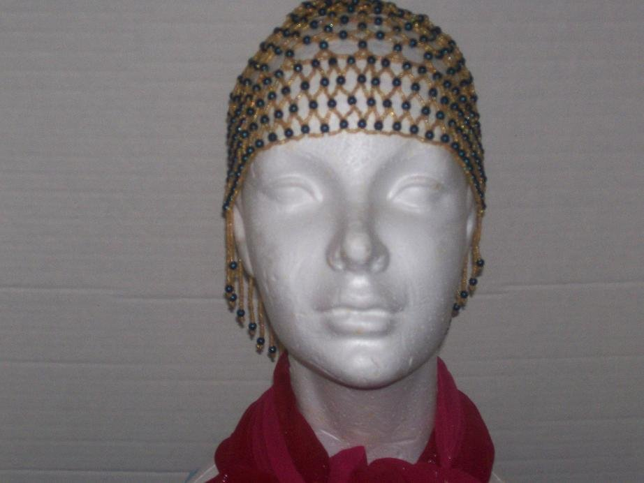 Hand Beaded Head Piece- Gold & Blue--- TBM-BHP-016