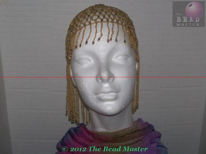 Hand Beaded Head Piece - Gold - TBM-BHP-003