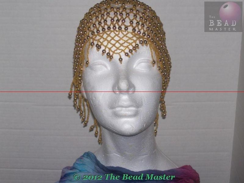 Egyptian Beaded Caps  V-Shape Gold --- TBM-BHP-007