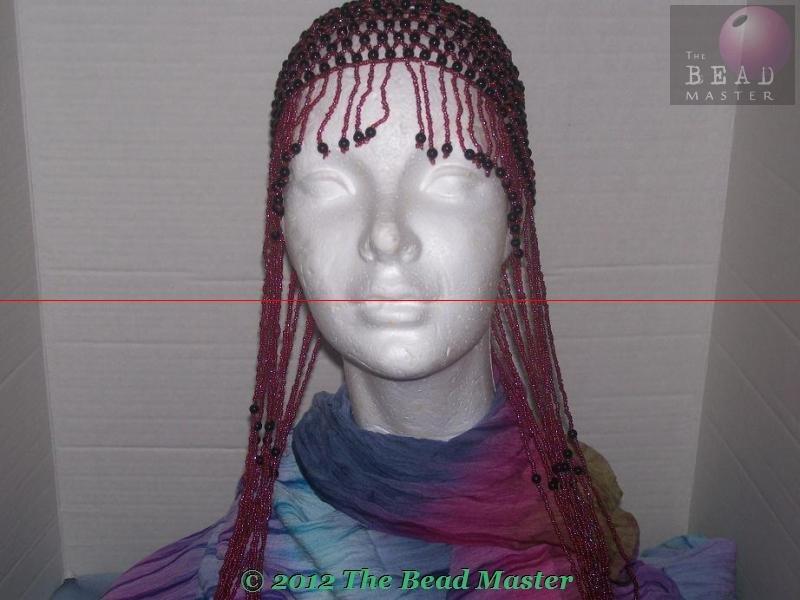 Long Hand Beaded Head Piece - Red & Black - TBM-BHP-034