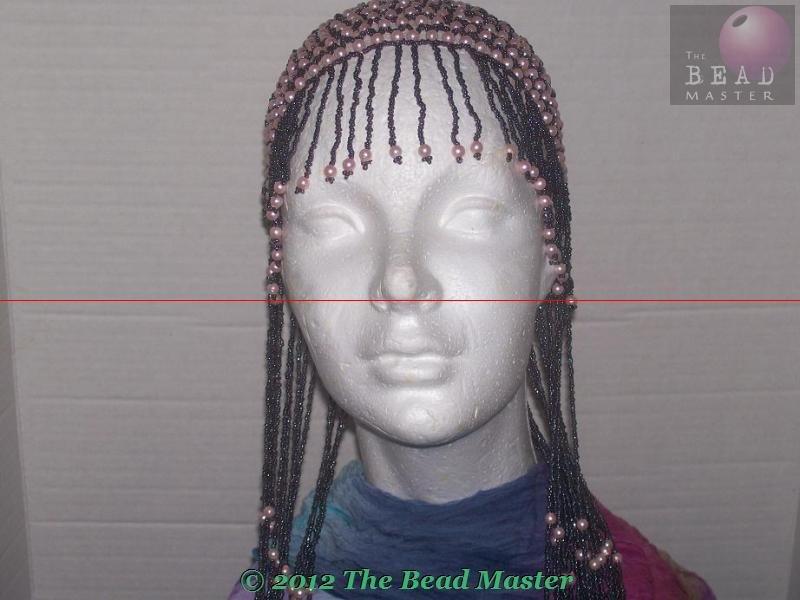 Long Hand Beaded Head Piece - Pink Pearls & Hematite -TBM-BHP-035