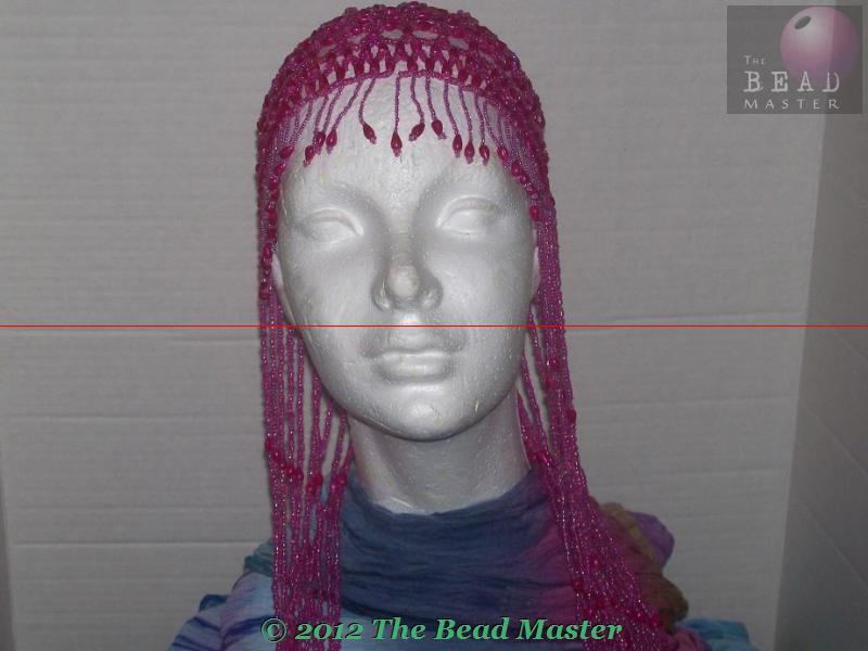 Long Hand Beaded Head Piece - Fushia & Pink - TBM-BHP-039