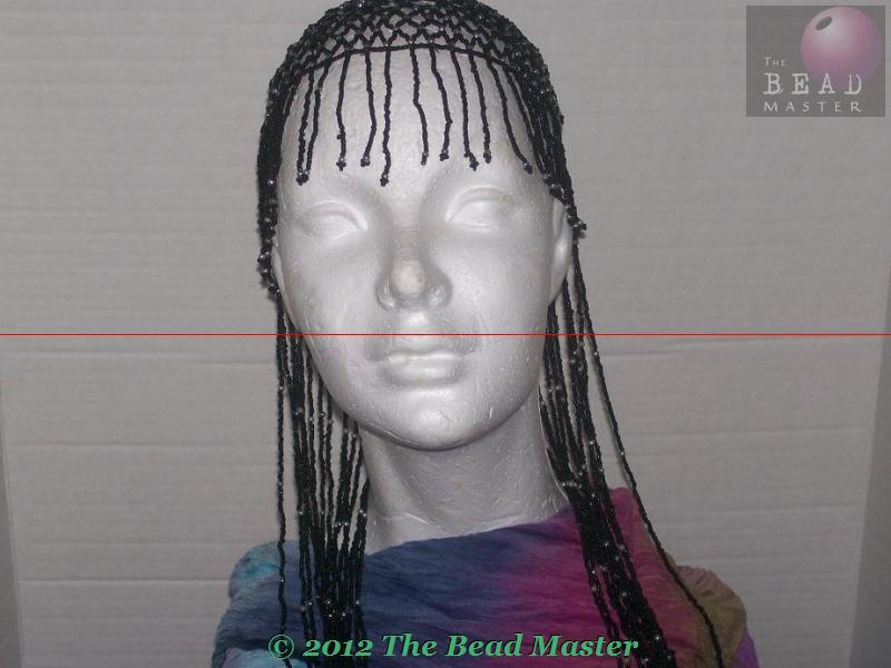 Long Hand Beaded Head Piece - Black & Silver - TBM-BHP-042