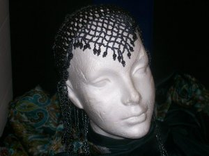 Long Hand Beaded Head Piece- Black & Charcoal - TBM-BHP-044