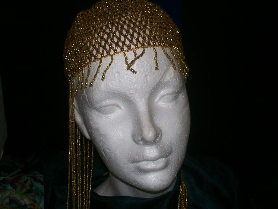 Long Child Beaded Head Piece - Gold / Black - TBM-BHP-048