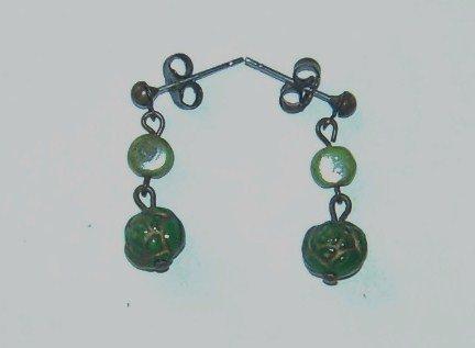 Czech Style Green Earrings