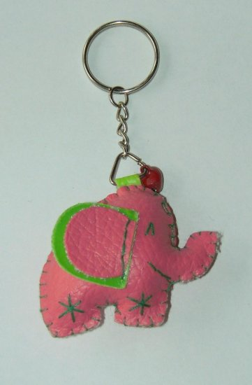 Cute pink elephant key ring