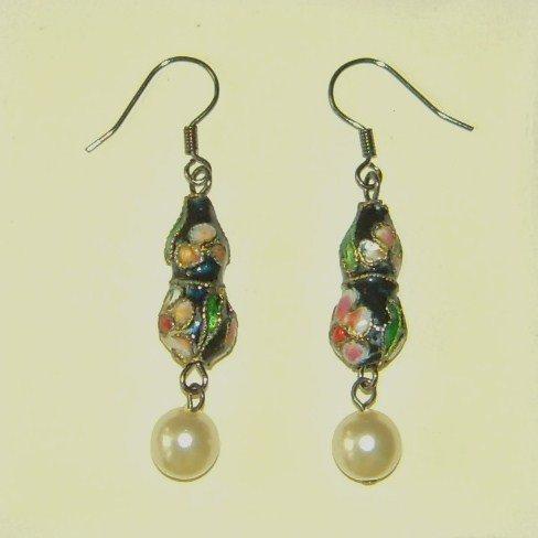 Oriental Pear Shape Dangle Blue Cloisonne Earrings