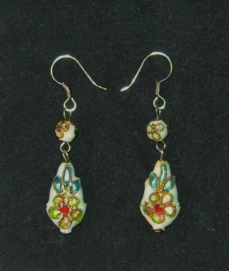 Oriental Dangle White Cloisonne Earrings